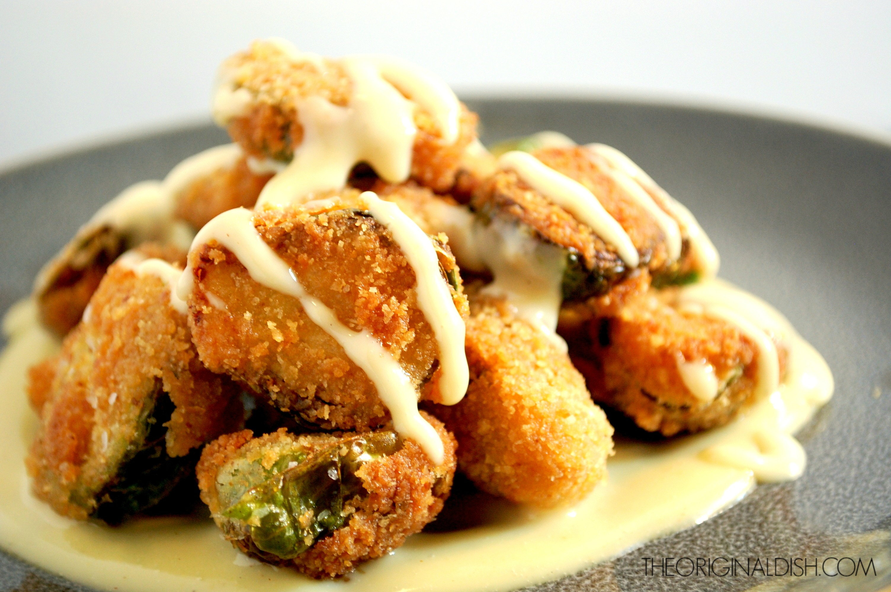 Fried Brussels Sprouts with Maple-Dijon Mayo | The Original Dish