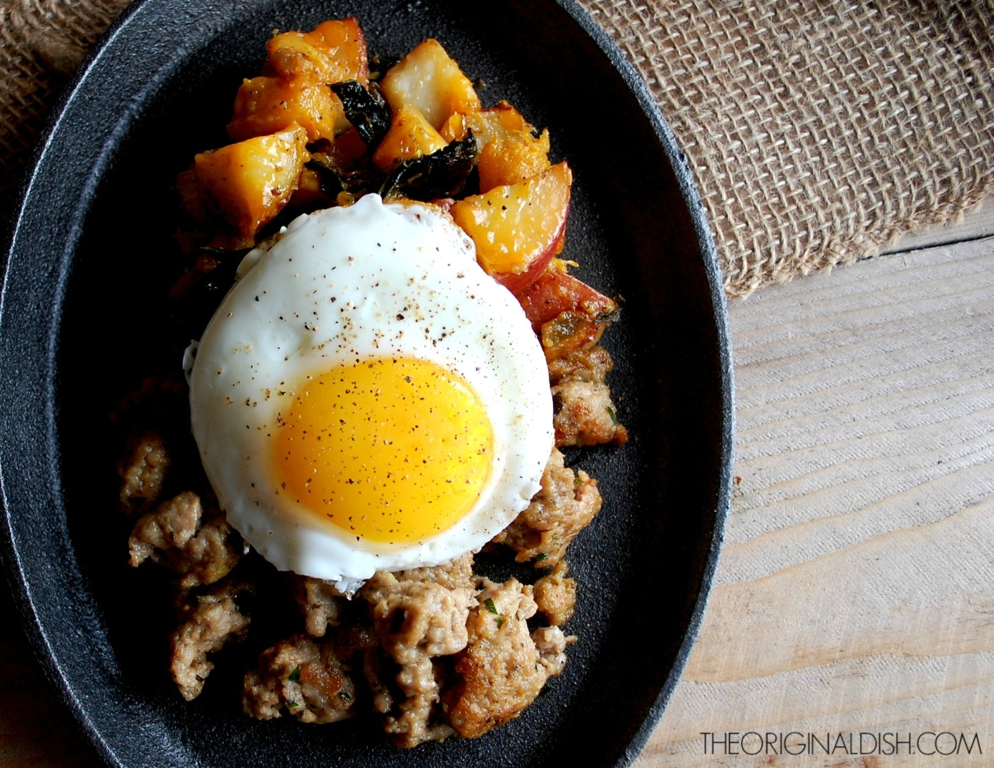 Autumn Hash with Homemade Turkey Sausage & Fried Eggs