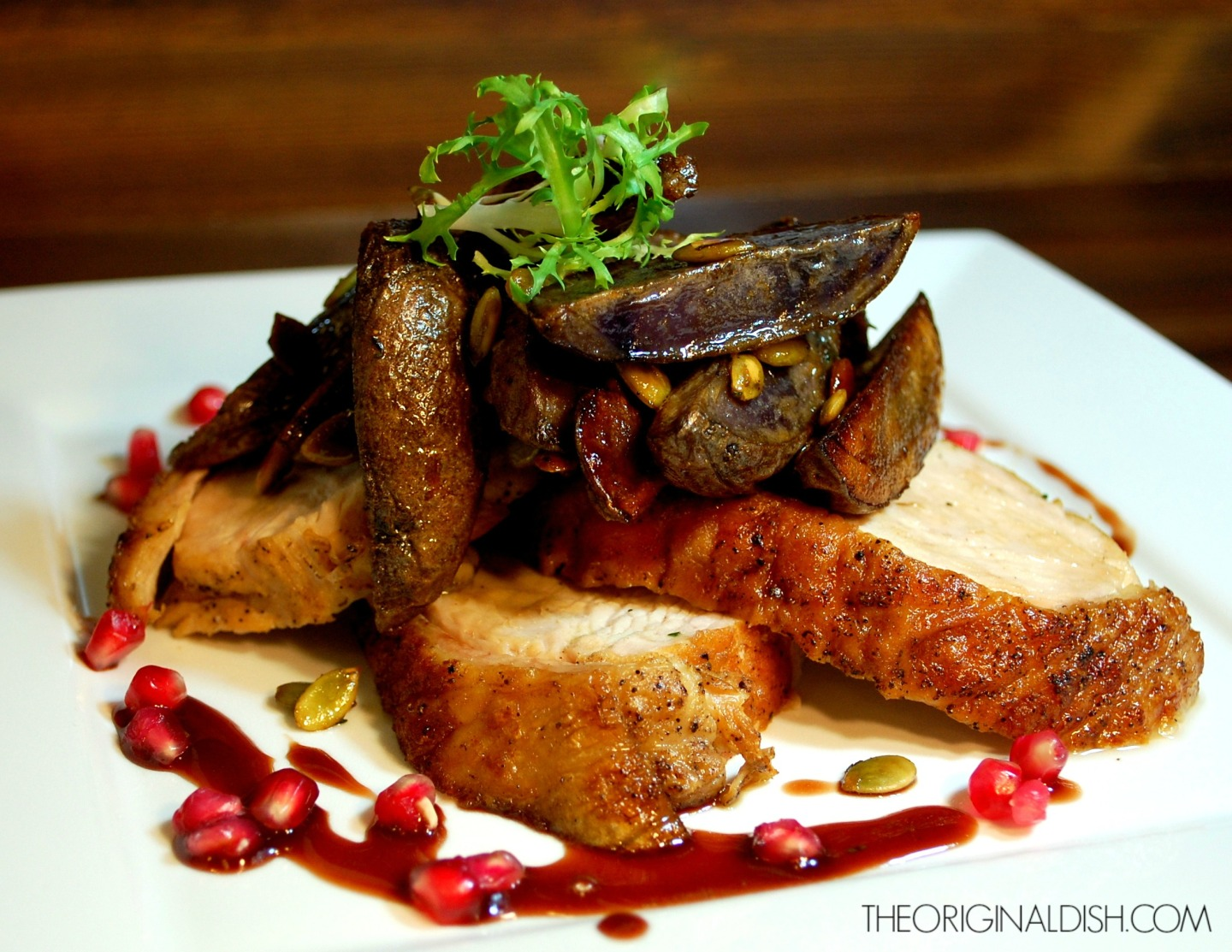 Roasted Turkey Breast with Purple Potatoes & Pomegranate Gastrique