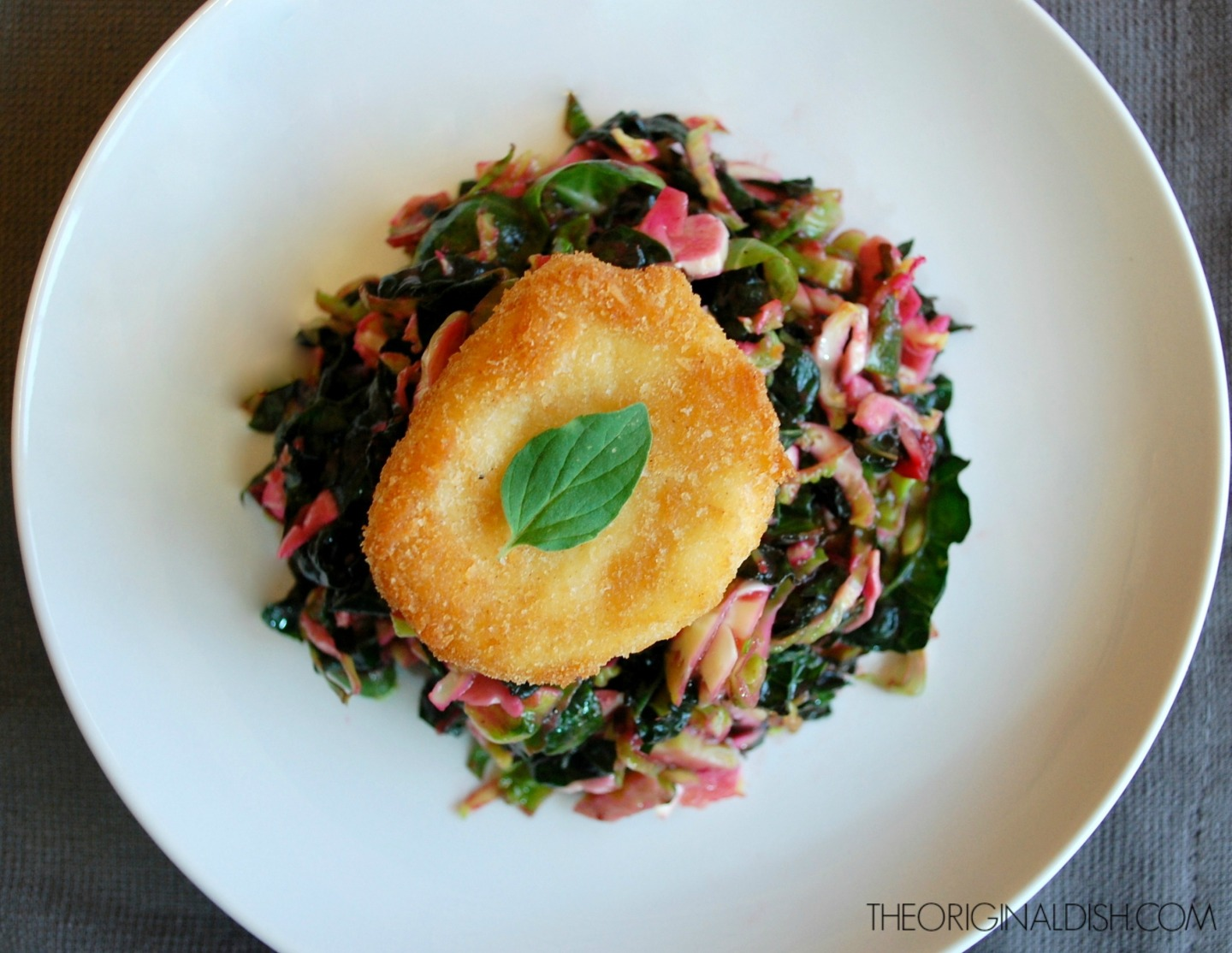 Kale Slaw with Cranberry Vinaigrette & Fried Goat Cheese