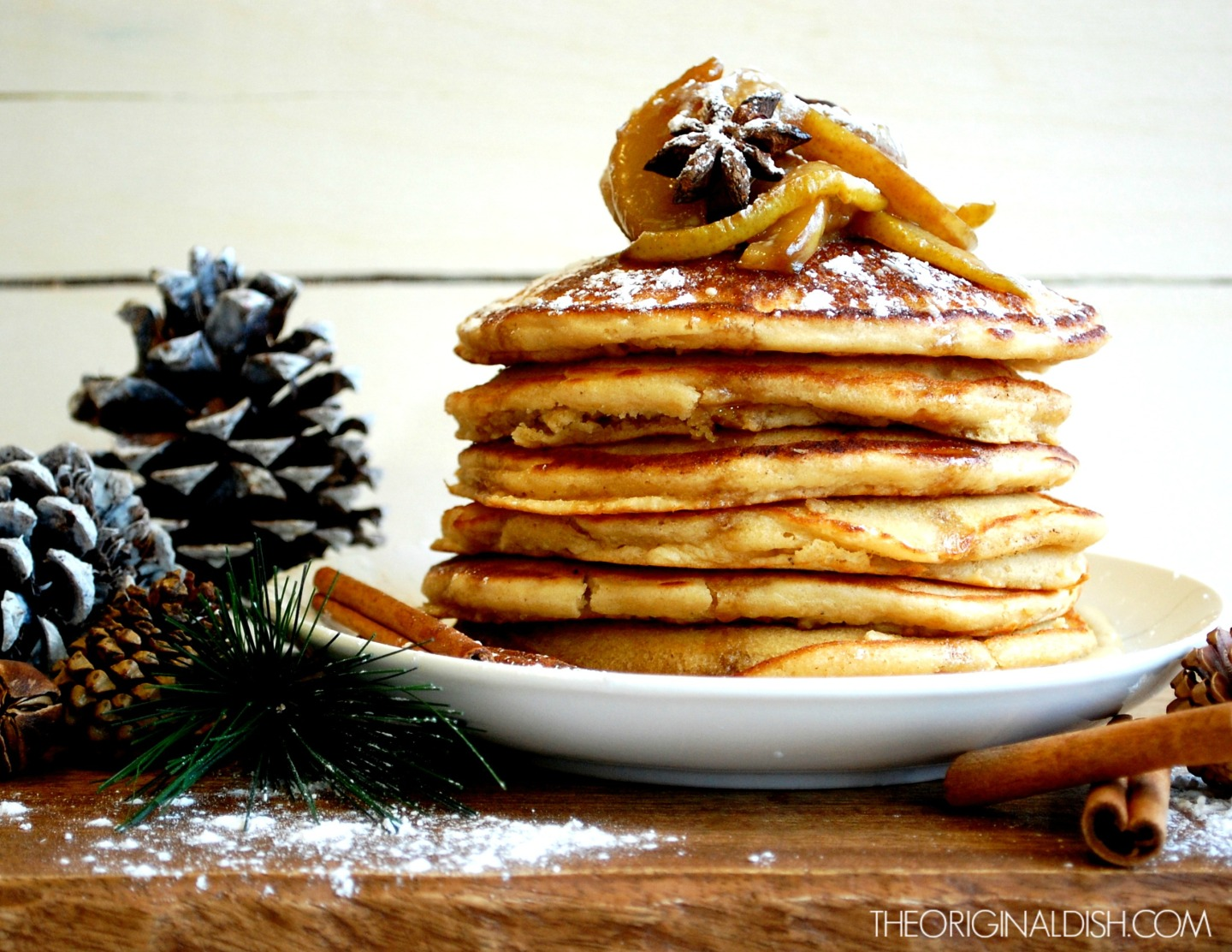 Pancakes with Chestnut Cream & Spiced Pear Syrup