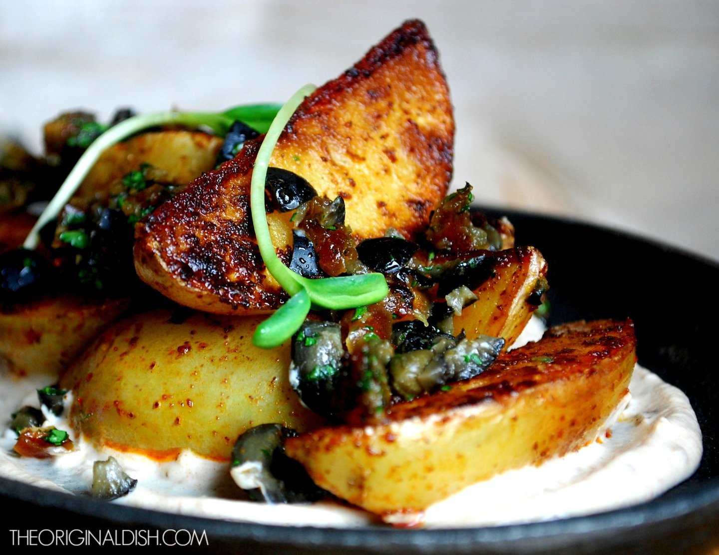 Paprika-Seared Potato Wedges with Olive-Date Tapenade & Date SourCream