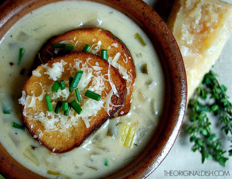 Onion-Dijon Soup with Pretzel RollCroutons