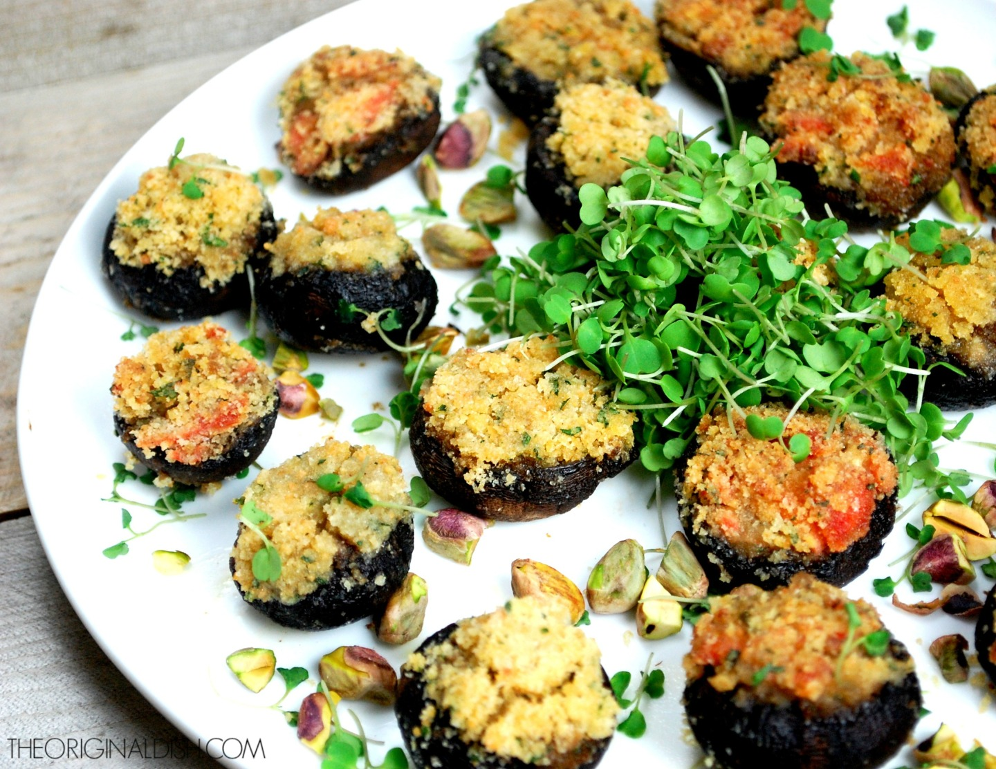 Crab & Salmon Stuffed Mushrooms with a Trio of DippingSauces