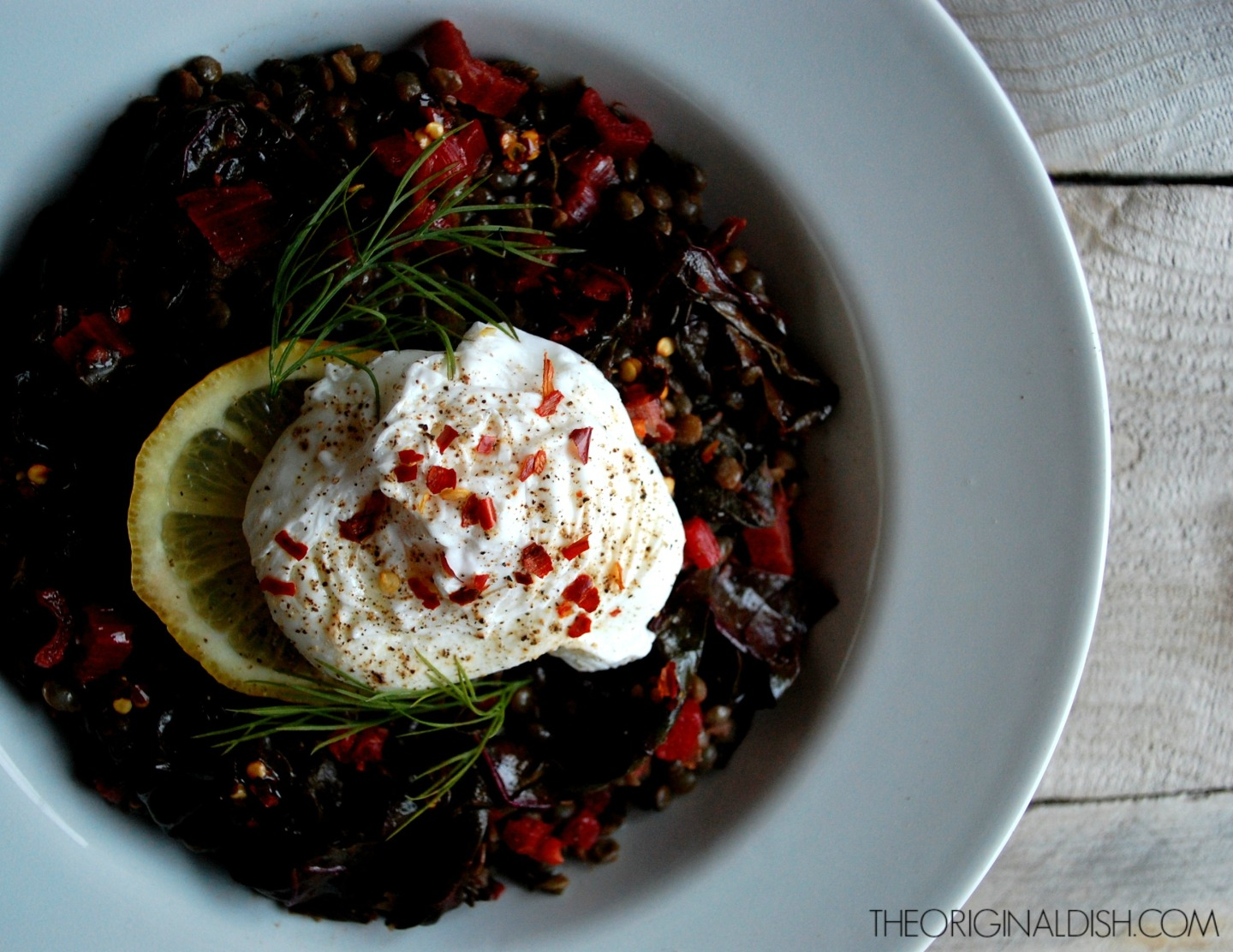 Stewed Lentils with Poached Eggs & Chili Oil