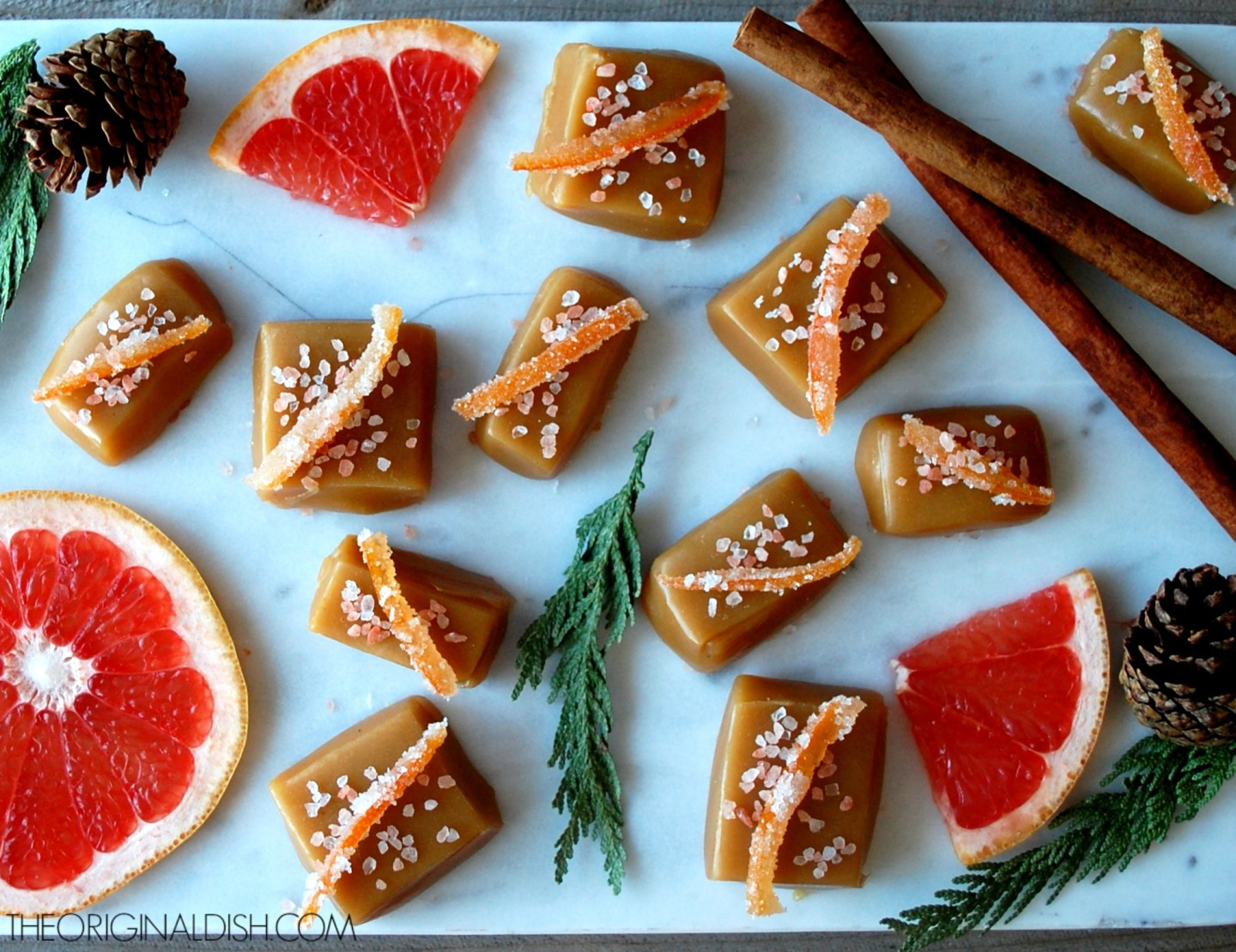 Cardamom-Honey Caramels with Candied Grapefruit