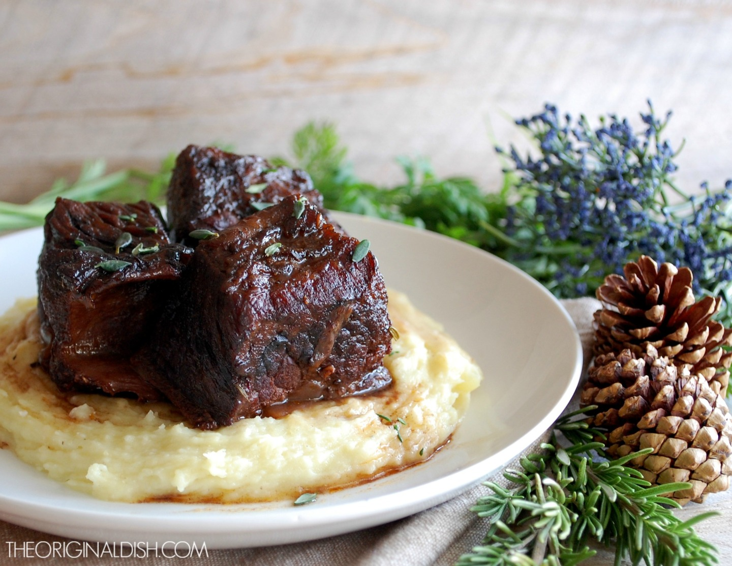 Braised Short Ribs with Caramelized Horseradish Potato Puree